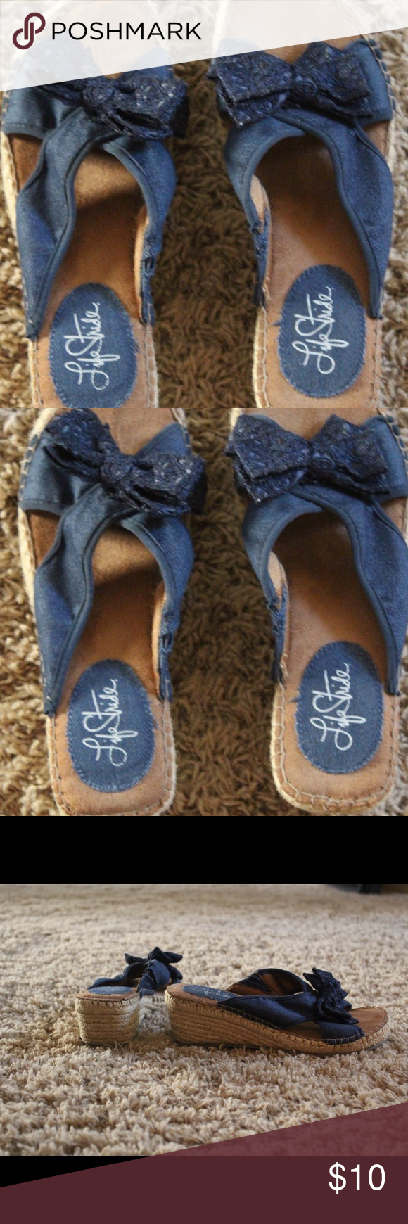 Denim slides with bow. Cute denim wedge slides with bow on top.  Comfy and casual. Life Stride Shoes Sandals