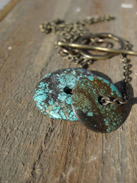 Simply Turquoise Necklace Brass and Turquosie by CopperTreeArt, $25.00