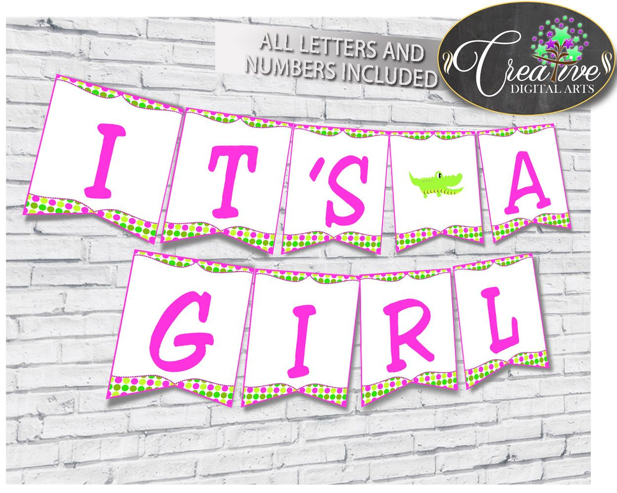 Baby shower BANNER decoration printable with green alligator and ...