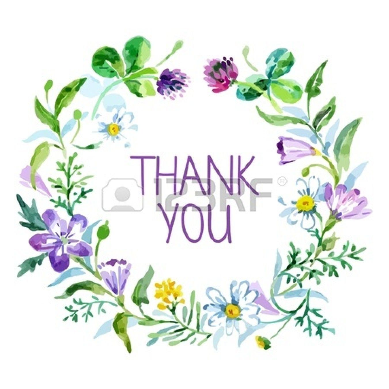 Thank You Card With Watercolor Floral Bouquet Vector Illustration Thank You Wallpaper Thank You Pictures Thank You Cards