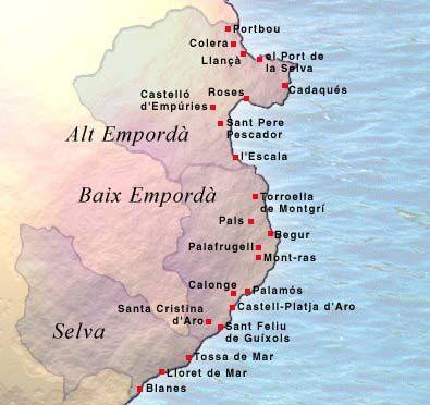 Costa Brava Espana Mapa.Mapa De La Costa Brava Costa Tossa De Mar Viajes