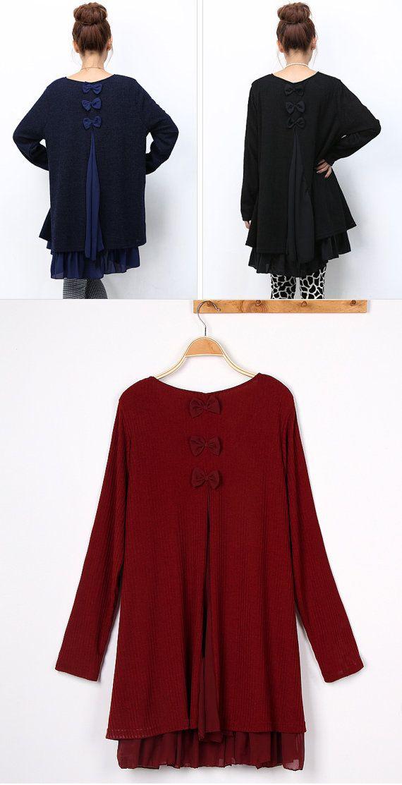 SXXL 3 Bowknots Chiffon hem Cotton dress with Back by FashionOrgy