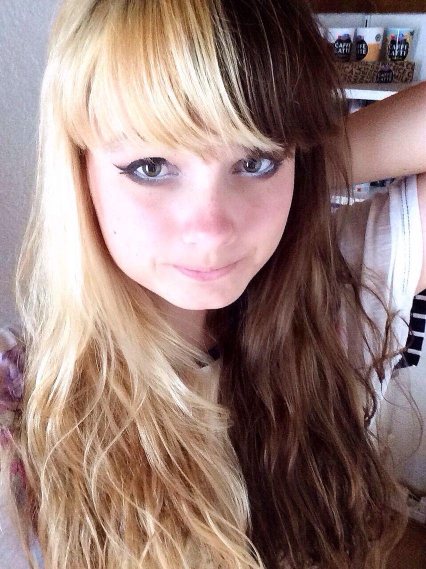half blonde half brown hair | two toned hair, multicolored