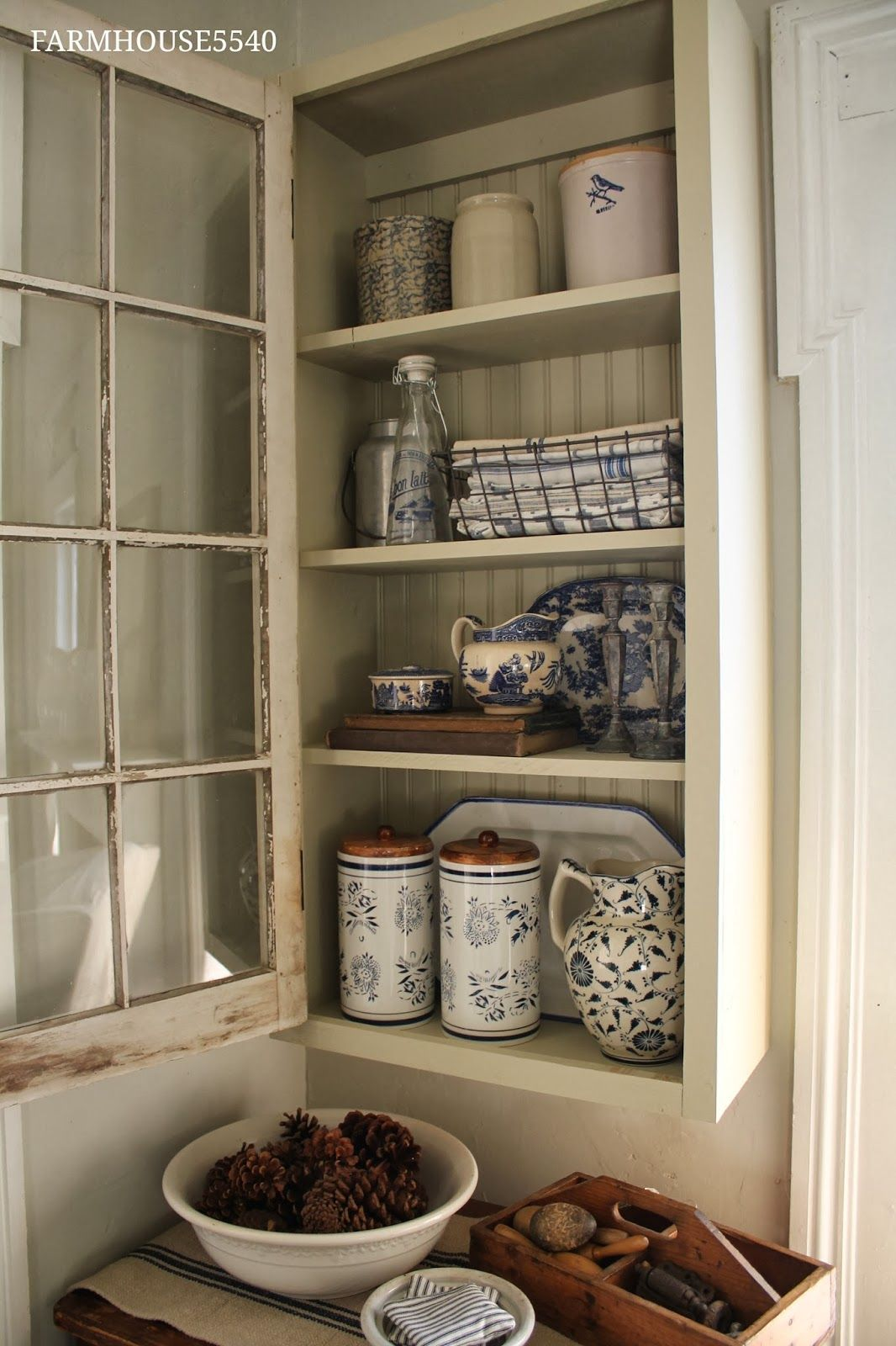 A New Cupboard With An Old Window Farmhouse style