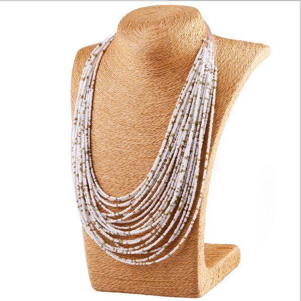 Bohemian stijl 20 lagen van hand geweven kralen kraag bib ketting verklaring ketting gratis verzending damesmode accessoires