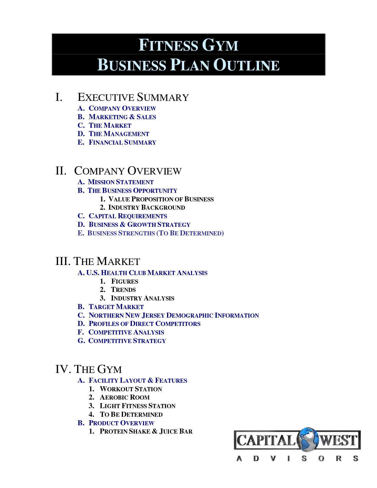 Business Plan Outline Example Business plan template