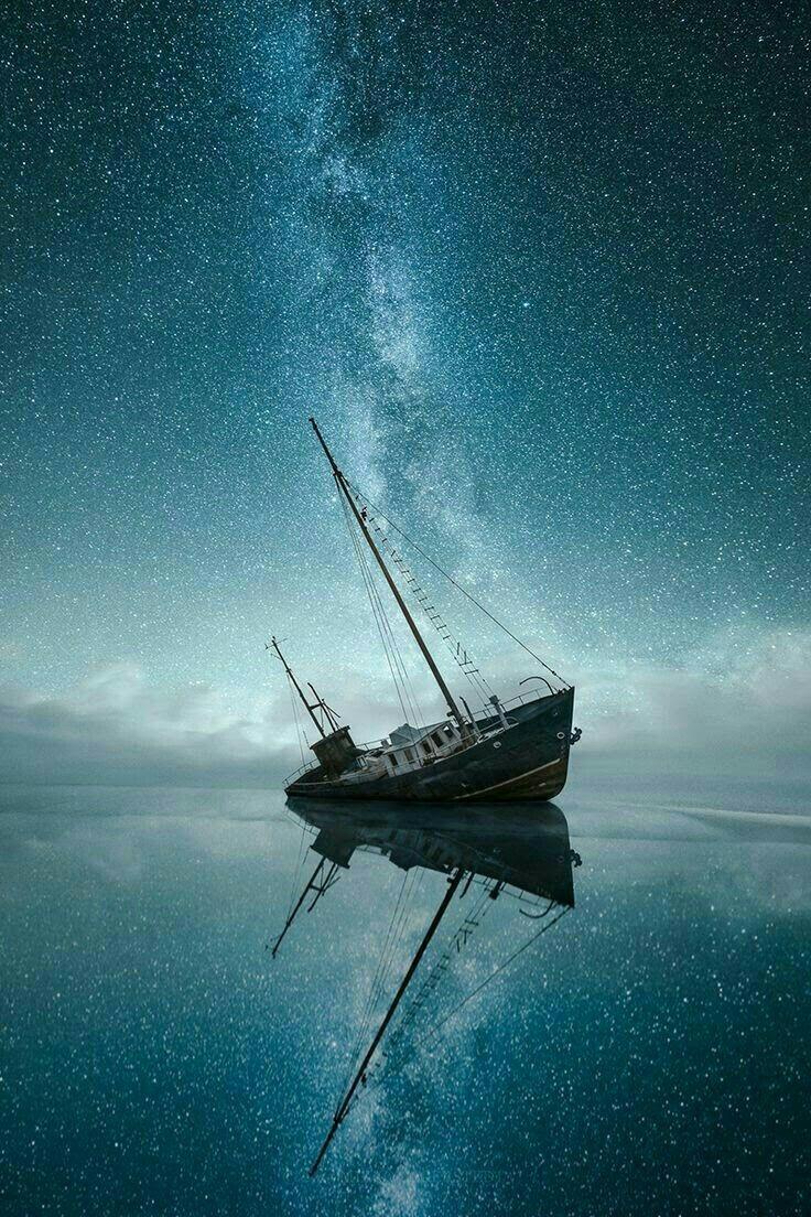 Wallpaper Ship Night Sky Stars Sea Starry Night Sky