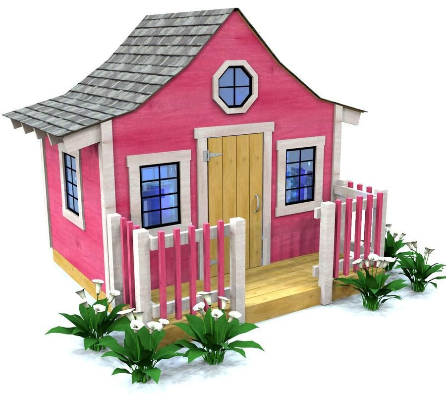 Pink Playhouse Plan | Gardening & Outdoors | Play houses, Playhouse on doghouse with porch plans, workshop with porch plans, cabin with porch plans, garage with porch plans, cottage with porch plans,