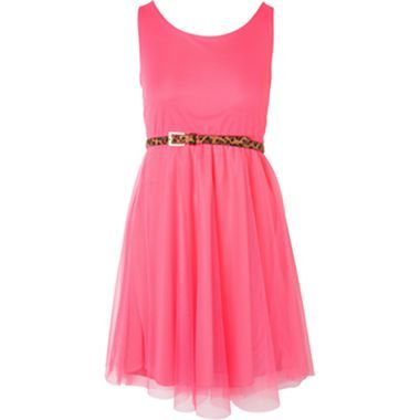 e1ed1dfc3cc Pinky Sleeveless Coral Skater Dress with Leopard Belt - Girls 7-16 and Plus  - jcpenney