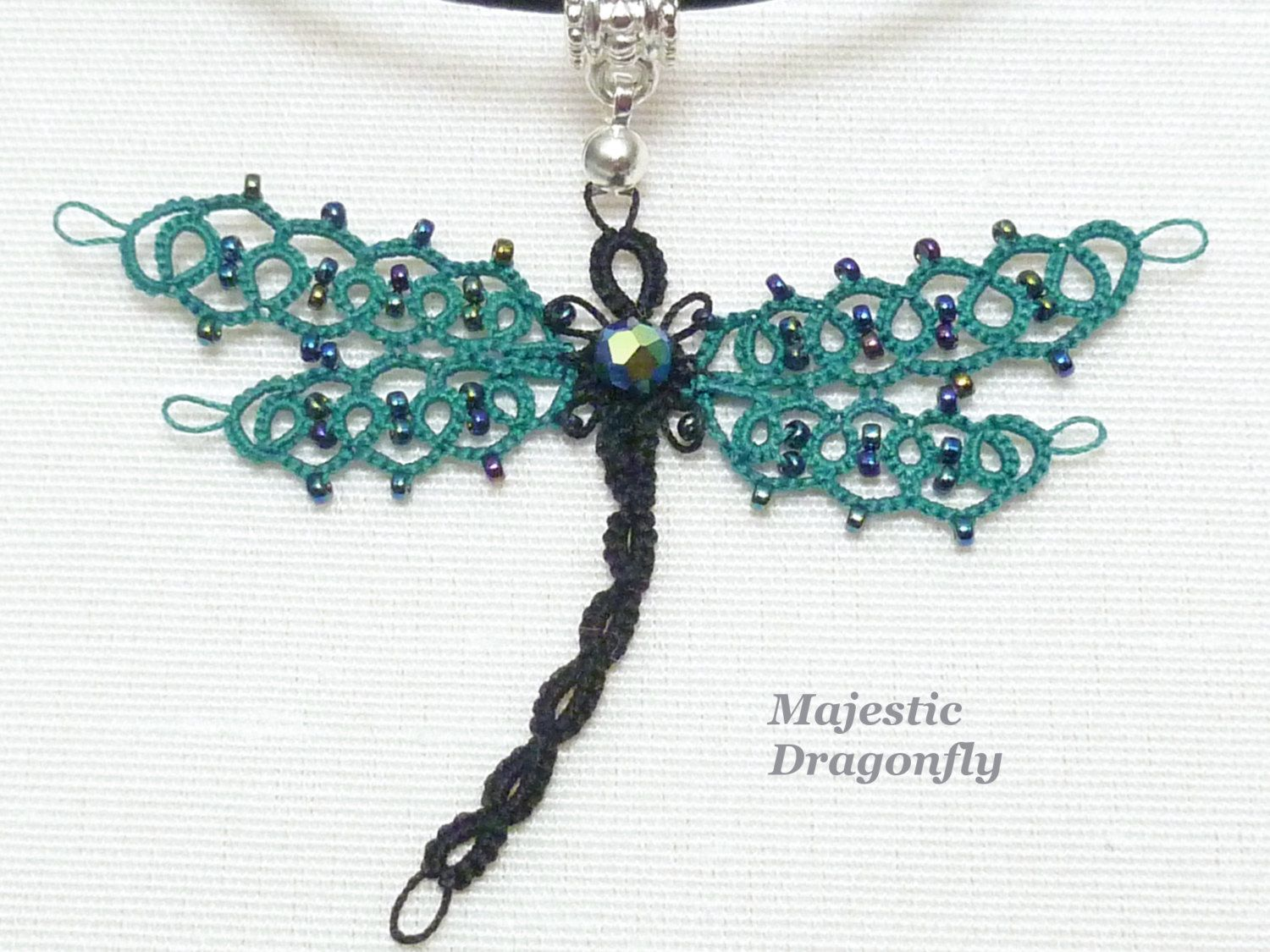 Tatted Lace Dragonfly Pendant -Majestic Dragonfly in blue green with glass bead accents. $31.50, via Etsy.