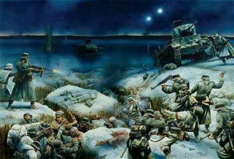 Alemanes asaltan trinchera rusa,los rusos se defienden a palazos,en el cuerpo a cuerpo se demostró un arma muy eficaz ya que estaban afiladas para el combate