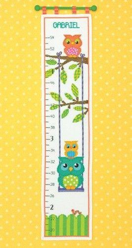 Owl Growth Chart Counted Cross Stitch Kit Cross Stitch Owl Dimensions Cross Stitch Counted Cross Stitch Kits