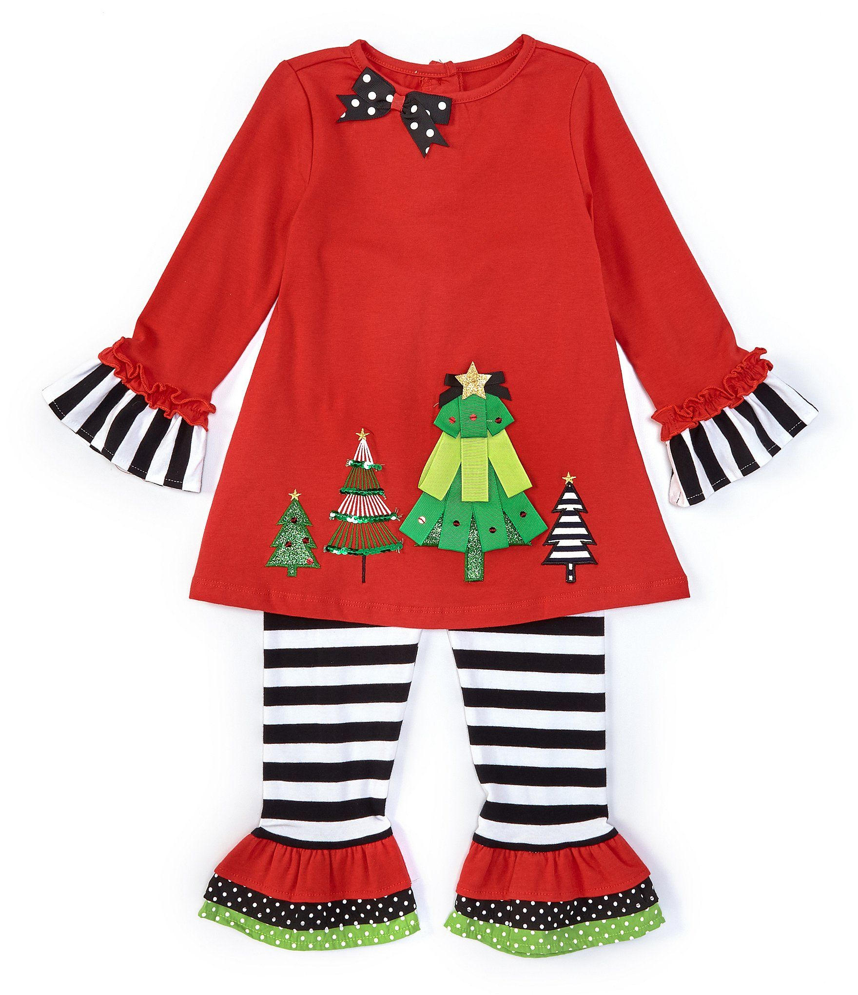 Rare Editions Little Girls 2T-6X Long-Sleeve Christmas Tree Tunic  Striped Legging Set - Red 5 #stripedleggings