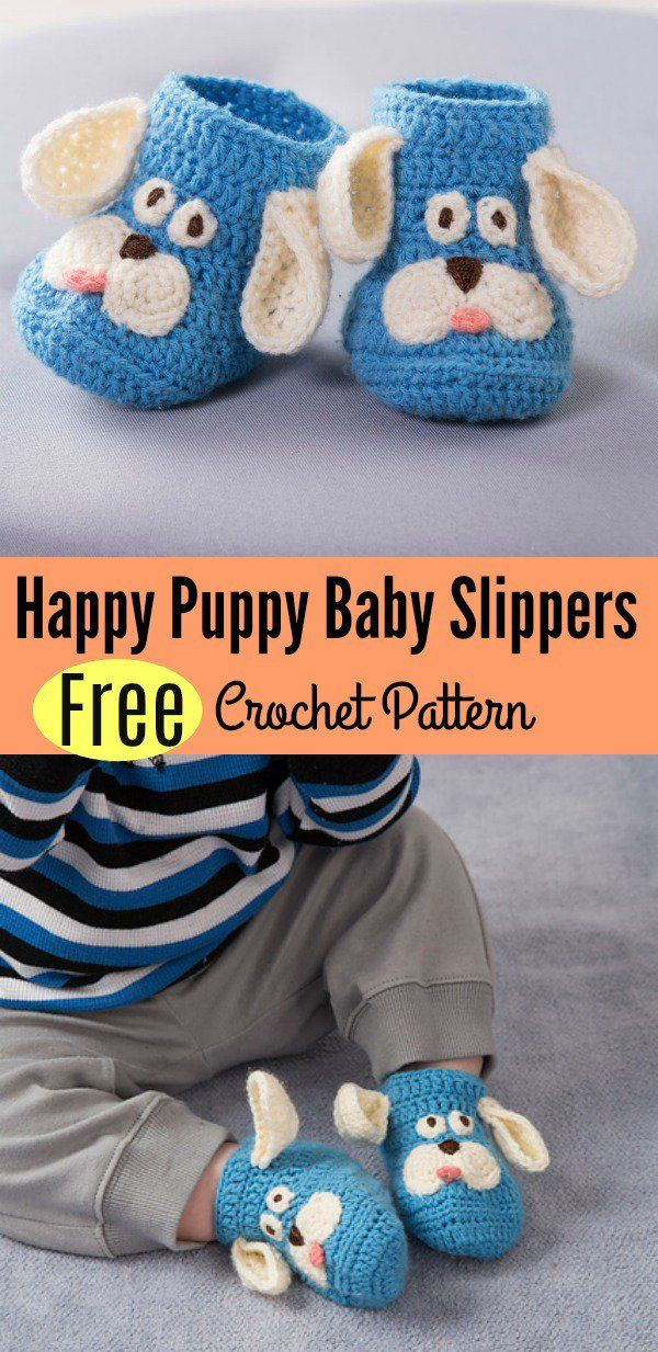 Happy Puppy Baby Slippers Free Crochet Pattern | Perros felices ...
