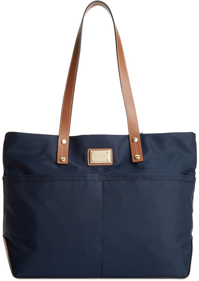 d647b13a2 $102, Navy Canvas Tote Bag: Calvin Klein Dressy Nylon Tote. Sold by Macy's