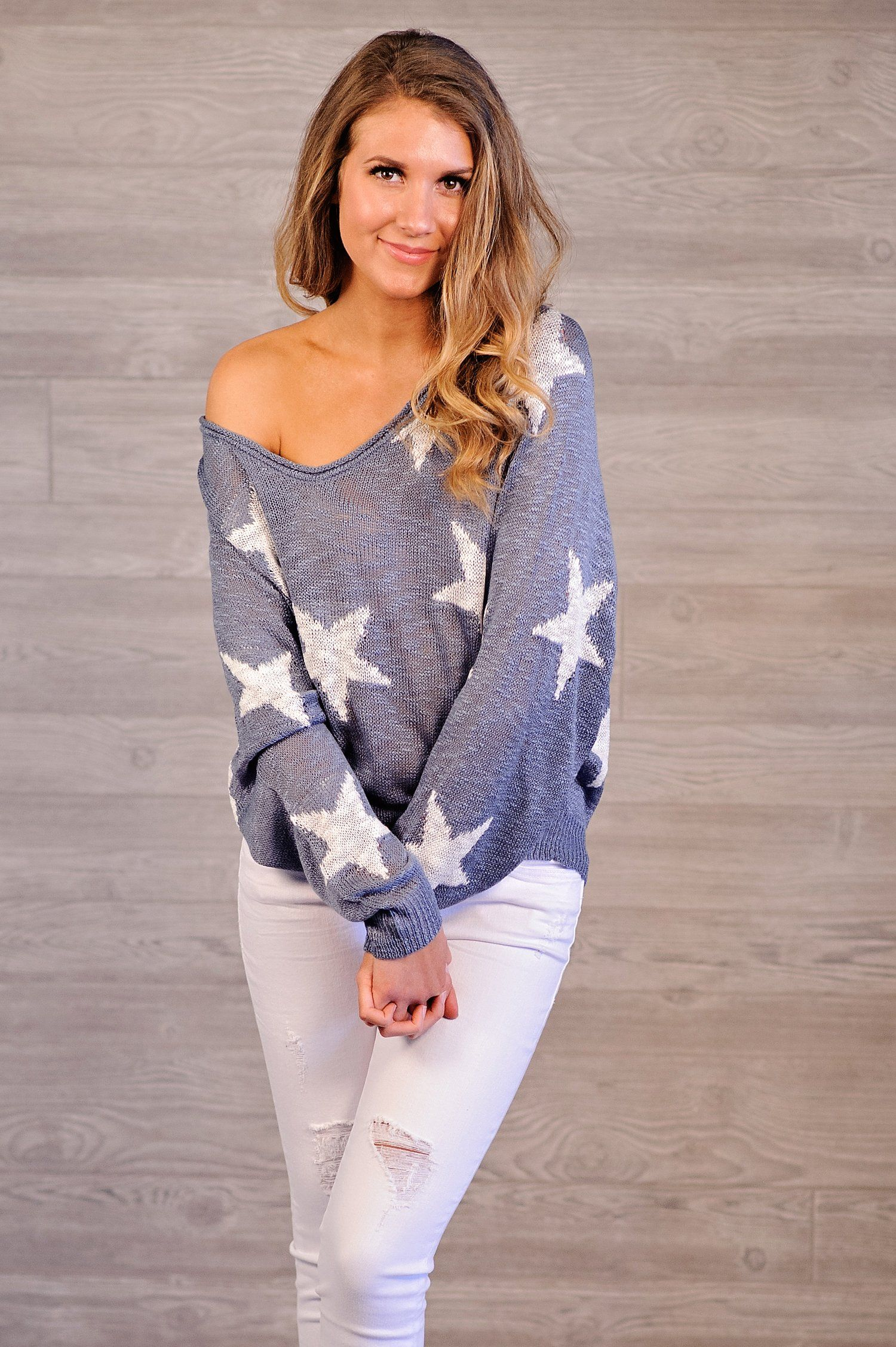 * Tellia Star Knit Sweater Blue/Ivory Fashion, Knitted