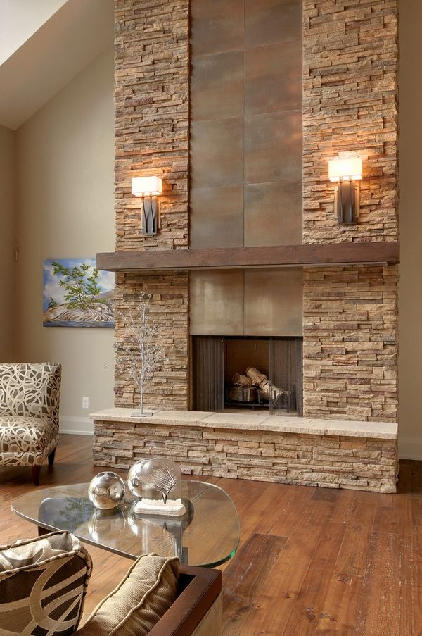 Contemporary living room stacked stone fireplace wooden mantel glass