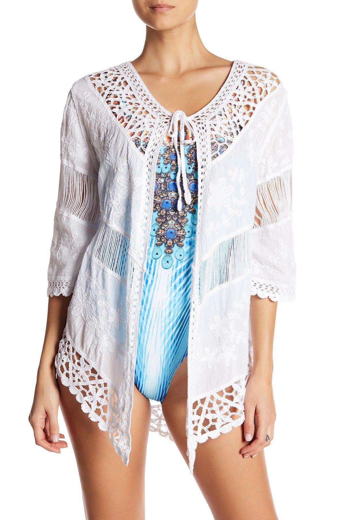 6227b8474f La Moda Womens Open-Front Embroidered Beach Kimono Cover Up Cardigan |  Goga's Cover Ups