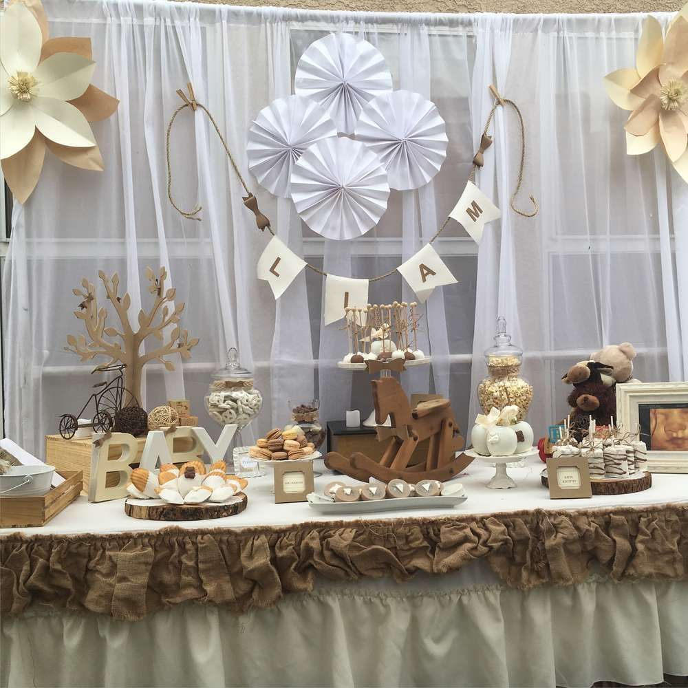 Rustic and vintage baby shower baby shower party ideas for Baby shower decoration ideas images