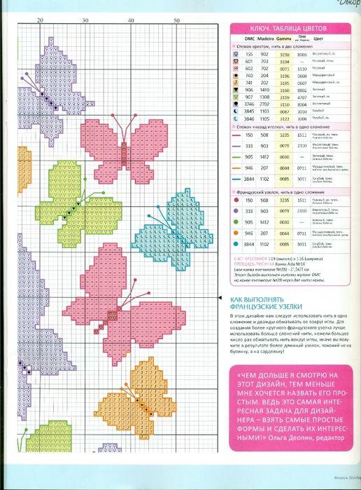 Farfalle animali sagome punto croce