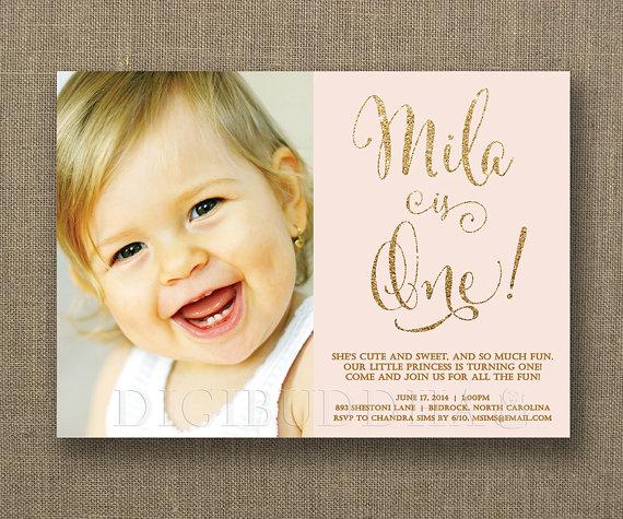 Blush Pink Gold Birthday Invitation Photo Girl Glitter Pastel – Baby Birthday Invite