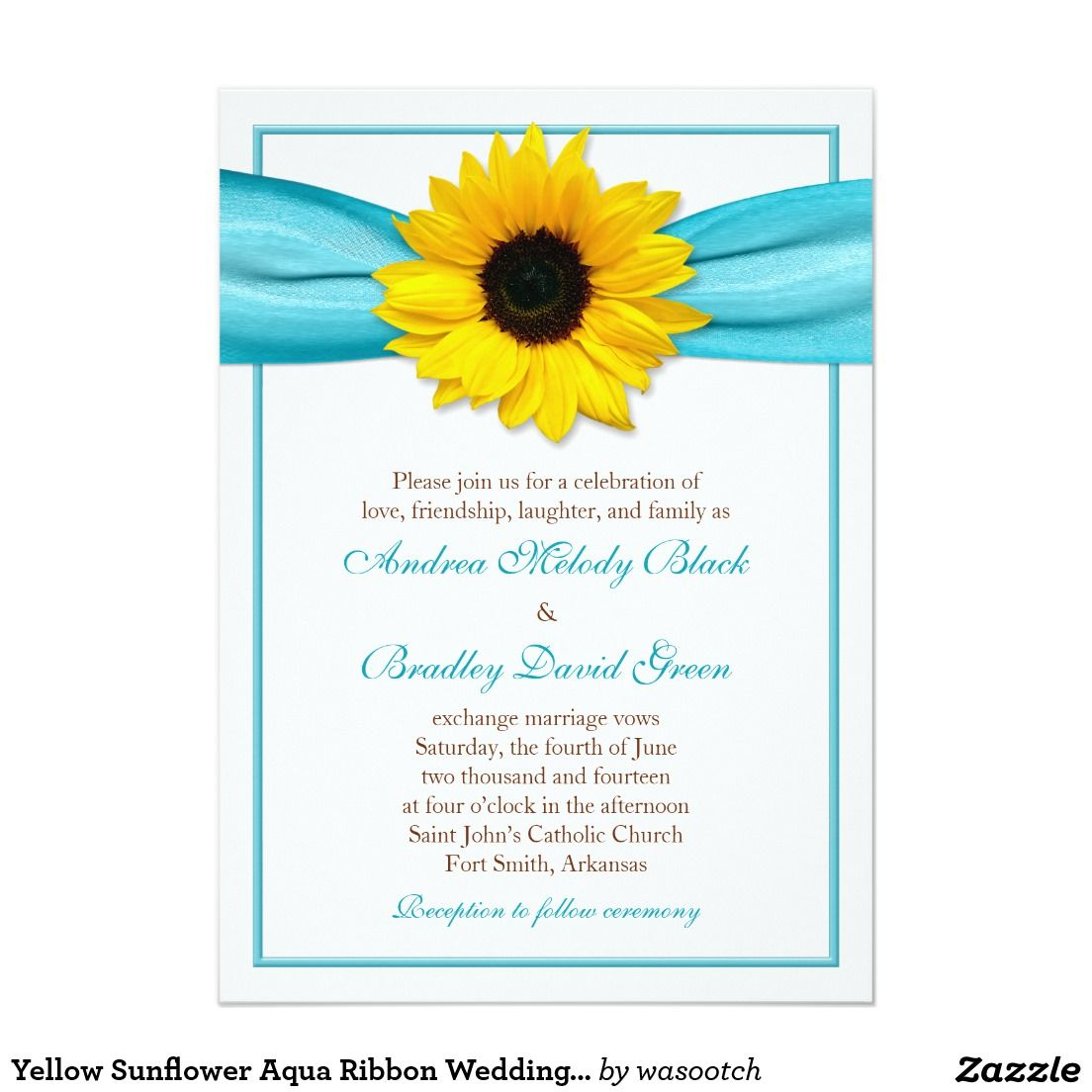 Yellow Sunflower Aqua Ribbon Wedding Invitation 5\
