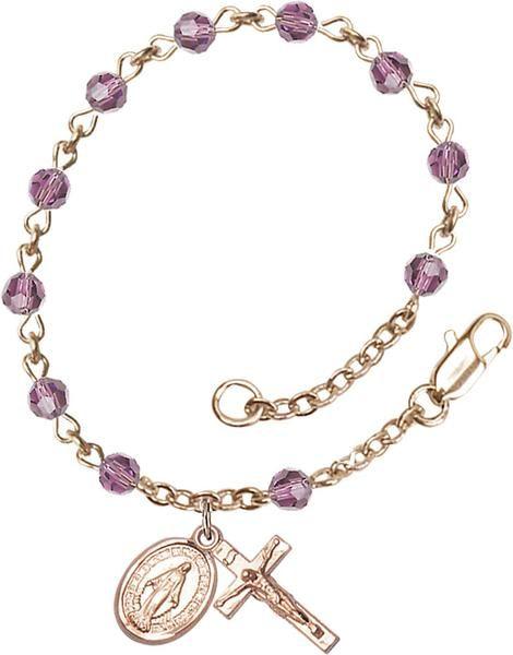 14 Karat Gold Rosary Bracelet features 4mm Light Amethyst Swarovski beads. The Crucifix measures 1/2 x 1/4. Each Rosary Bracelet is presented in a deluxe velvet