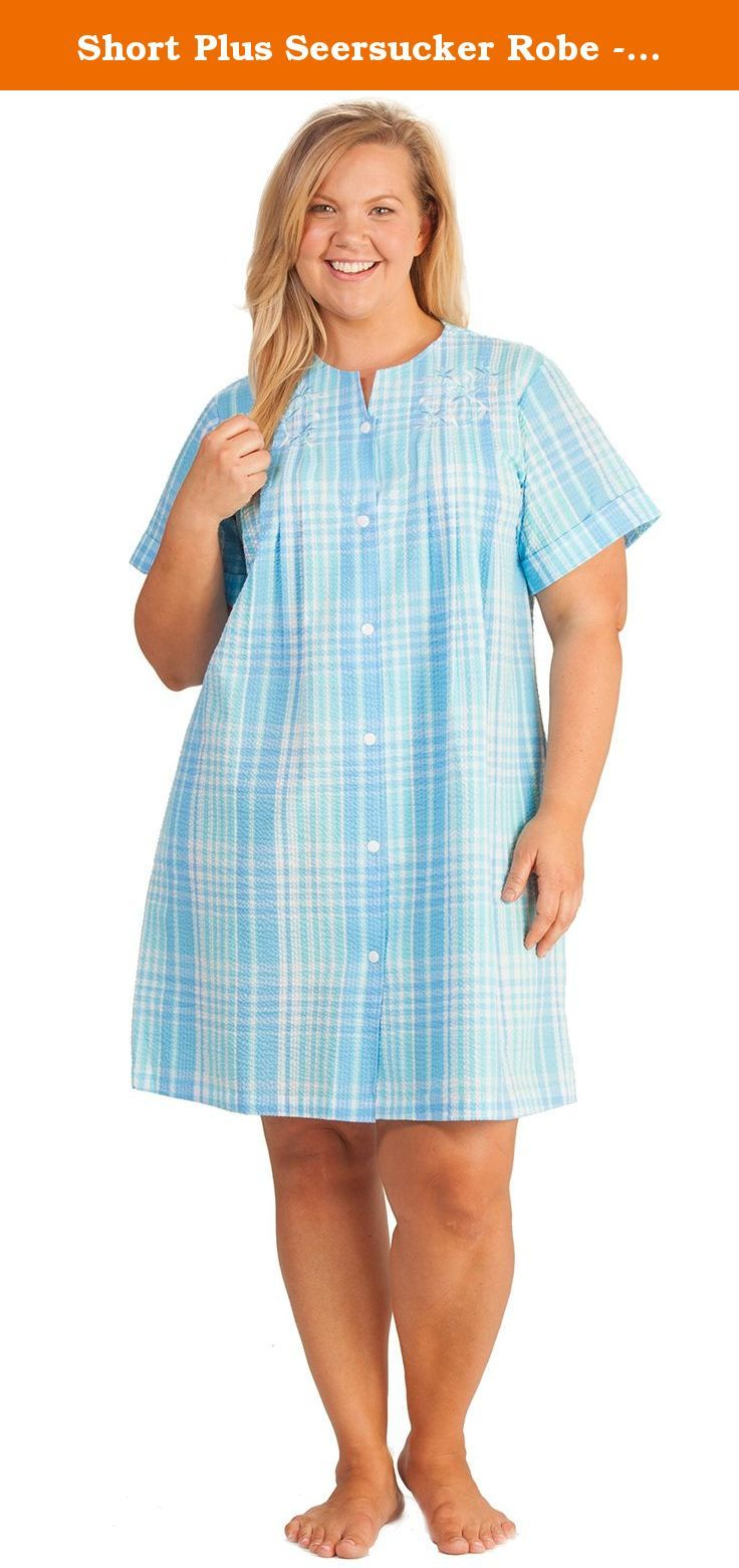 Short Plus Seersucker Robe - Miss Elaine Snap Front Robe In Blue Plaid (3X e6b63aa9e