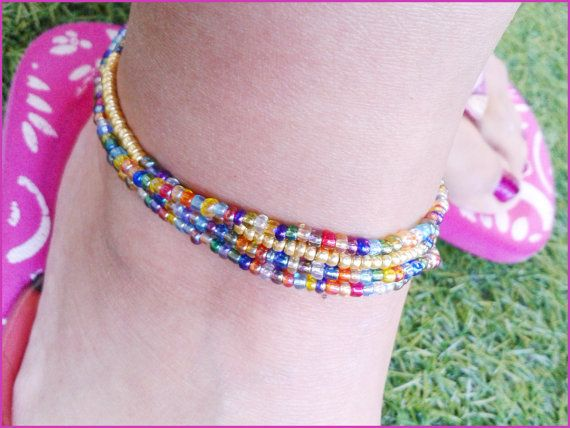 Ankle bracelet. Elastics. 3rows of by AccessoiresMODHair on Etsy