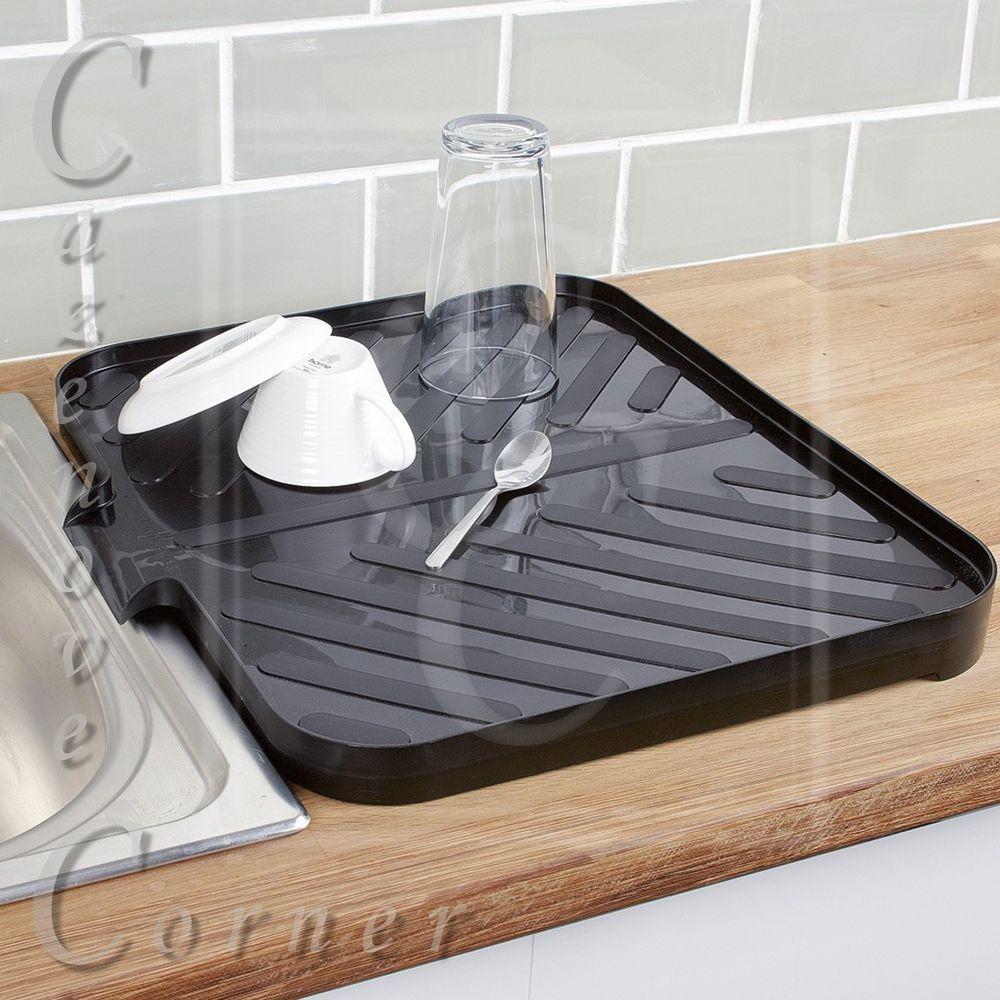 BLACK Worktop Drainer Tray. Sink Draining Board. Caravan