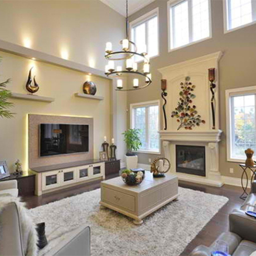Decorating Ideas For Tall Living Room Walls High Ceiling Living