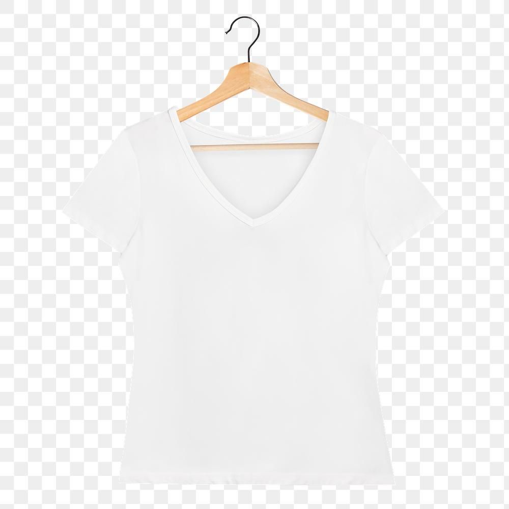 Png White V Neck T Shirt Mockup On A Wooden Hanger Free Image By Rawpixel Com Chanikarn Thongsupa Clothing Mockup T Shirt Png White V Necks