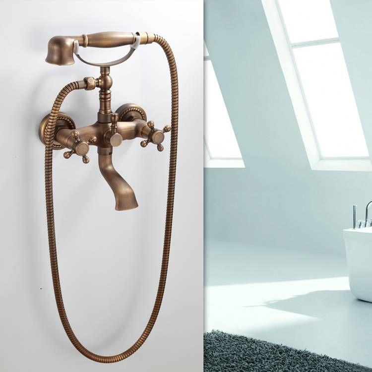 Antique Brass Bathroom Bath Tub Handheld Shower Head Set With