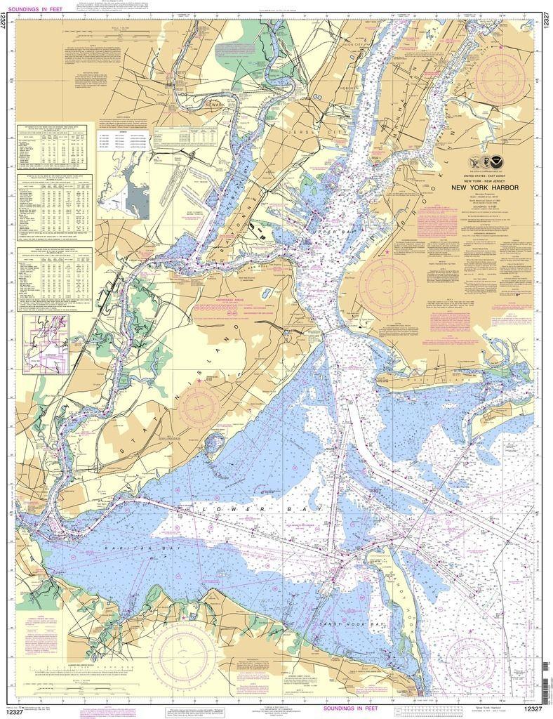 Map Of New York Harbour.Noaa Nautical Chart 12327 New York Harbor Maps Nautical Chart