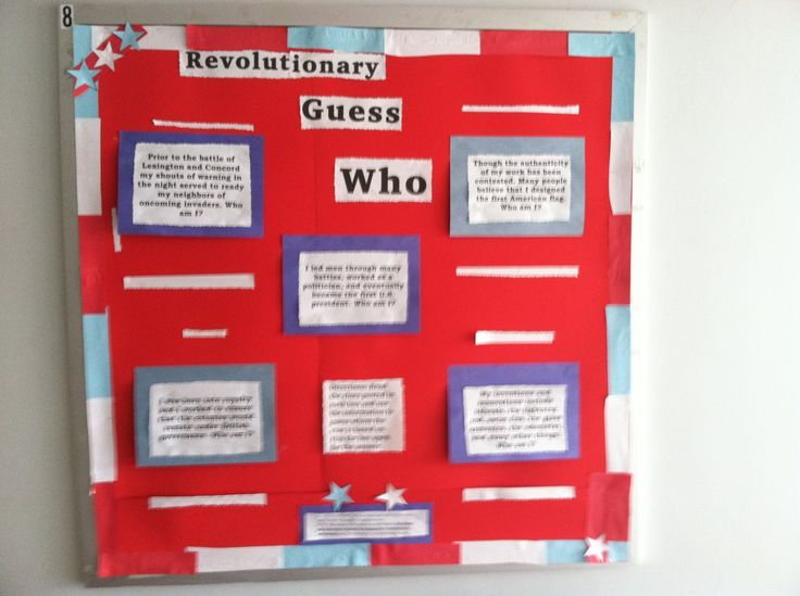 American revolution guess who bulletin board with images