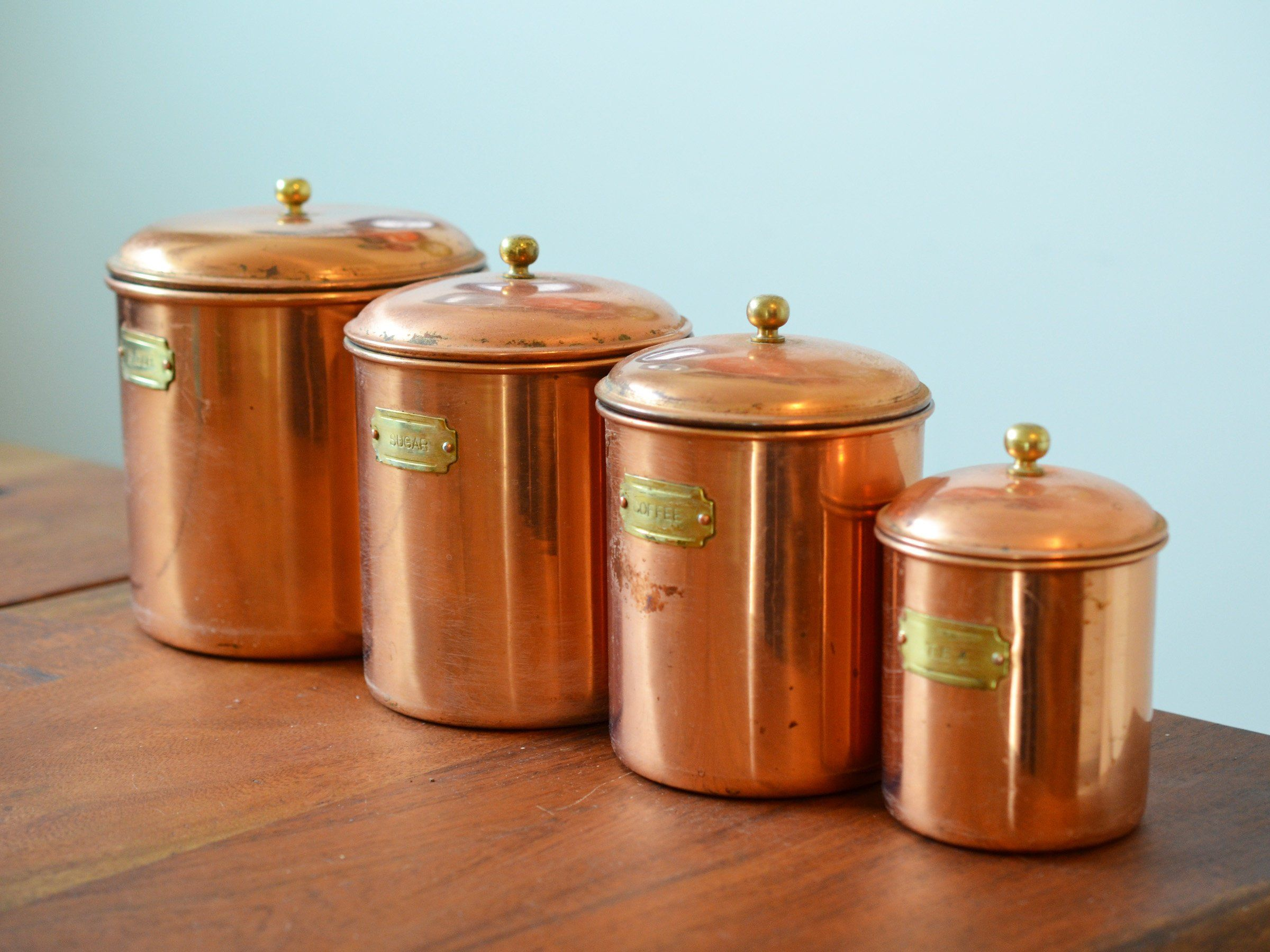 Vintage Copper Canisters, Set of 4 kitchen canisters with ...