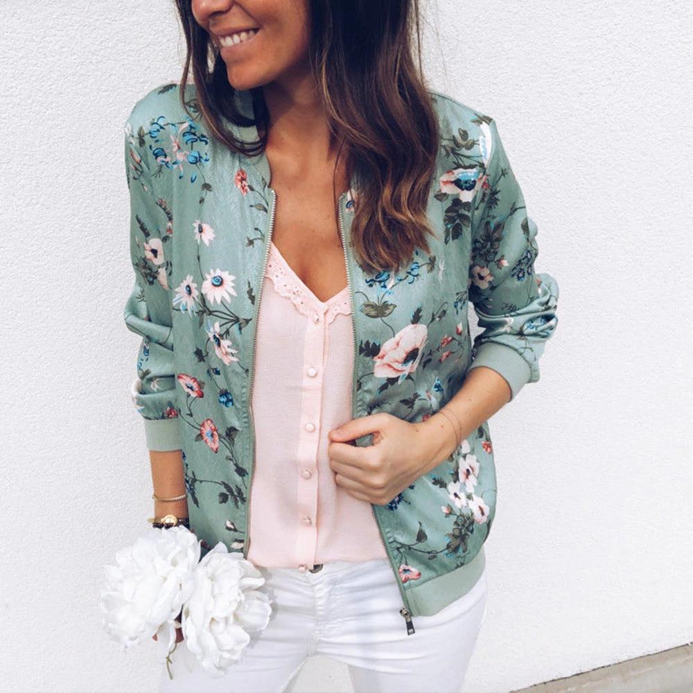 Women Zipper Coat Floral Printed Casual Short Jacket Long Sleeve Outwear Coats