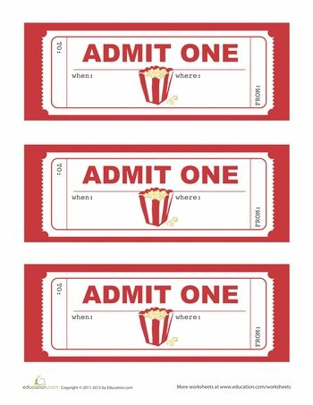 Movie Night Pack! Popcorn Boxes \ Ticket Template - Homemade gifts - free ticket templates for word