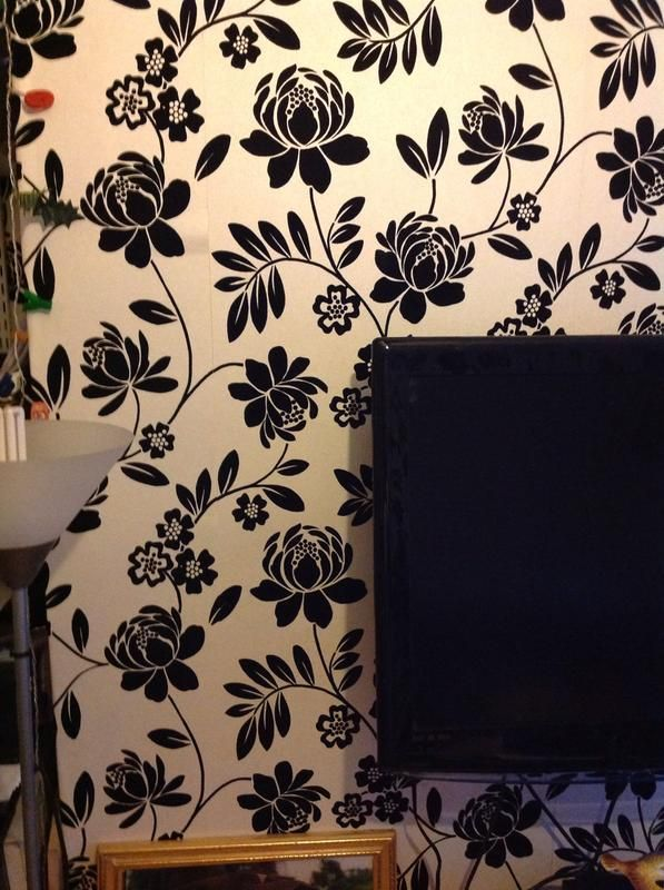 Pin On Wedding Inspiration Black and cream floral wallpaper