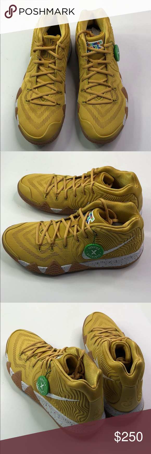 Kyrie 4  Cinnamon Toast Crunch  METALLIC GOLD COIN WHITE RELEASED 2018  STOCKX AUTHENTICATED Nike Shoes Sneakers 022f64b11521