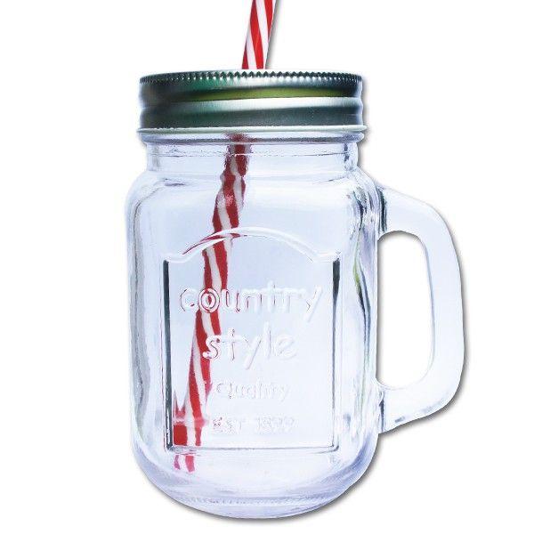 Mug Mason Jar refermable avec couvercle et paille rayée rouge et