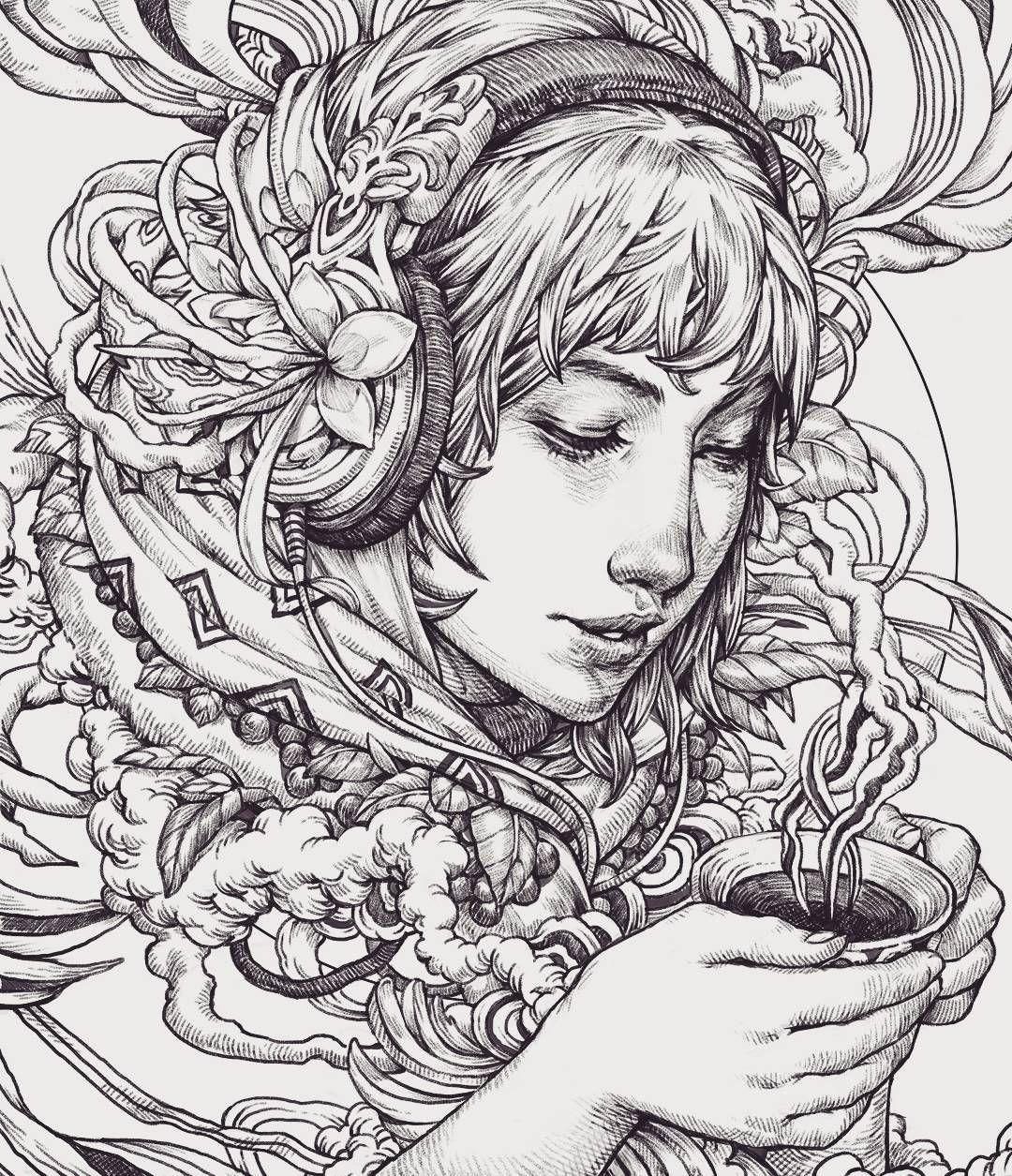 Morning Coffee In Bali Sketch Lineart Illustration Arttravel Drawings Instaart Coloring Travel Nickfilbert Indonesia