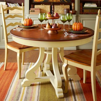 "marchella antique ivory 48"" round dining table 