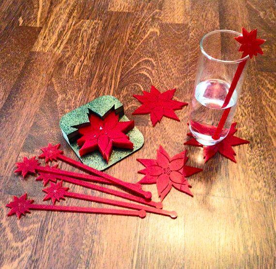 Christmas Coasters Poinsettias Coasters Wood Coasters Etsy Poinsettia Manualidades Hoja De Acrilico