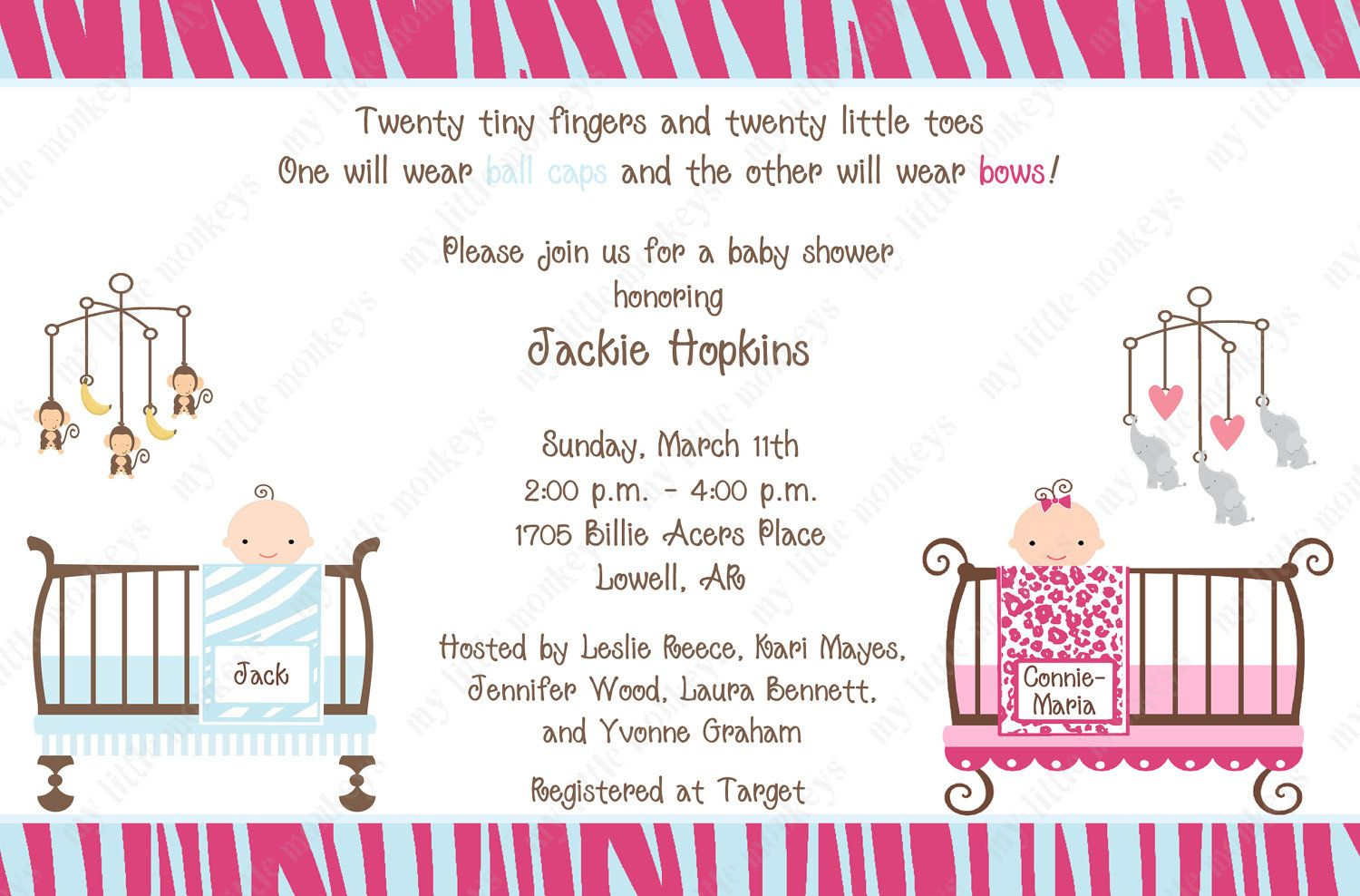 10 Jungle Twins Baby Shower Invitations with Envelopes. Free Return ...