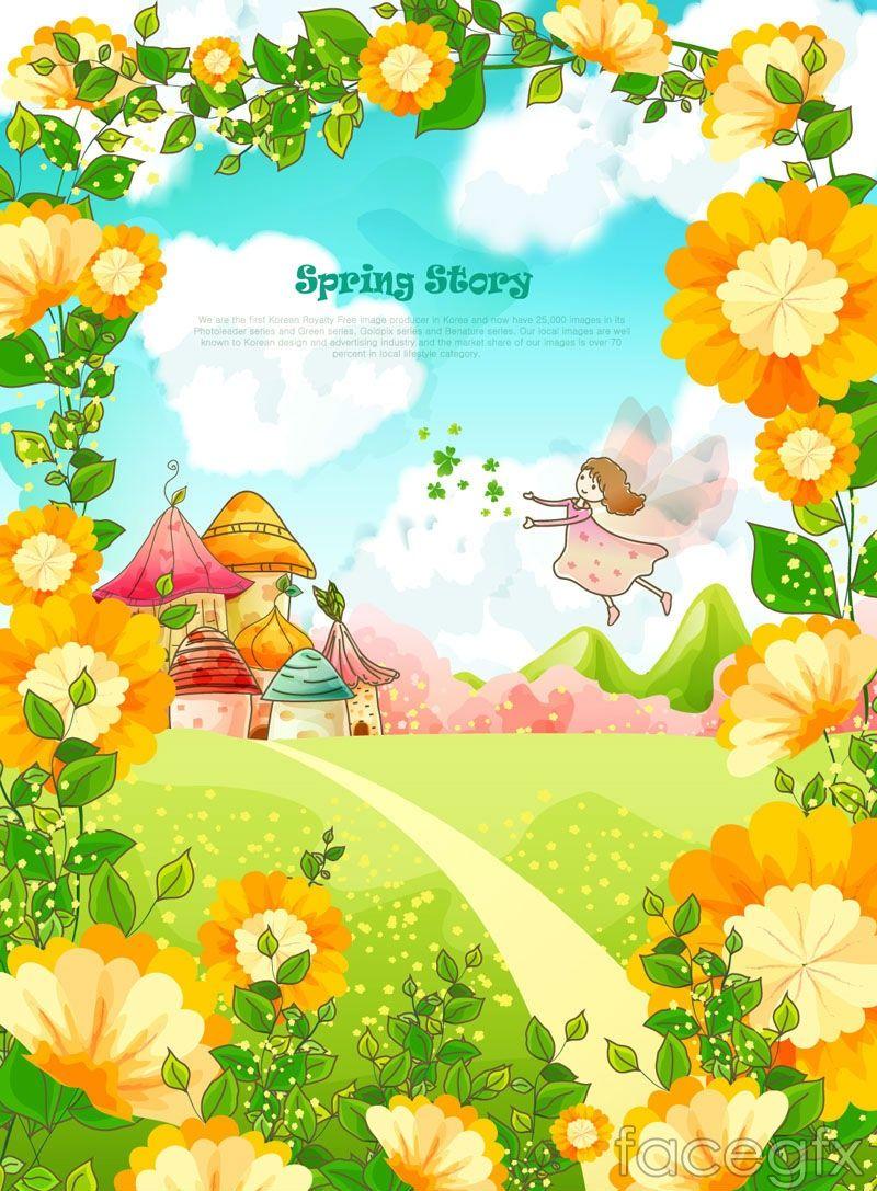 Cartoon Spring Flowers Vector Illustration Hello Spring Artill