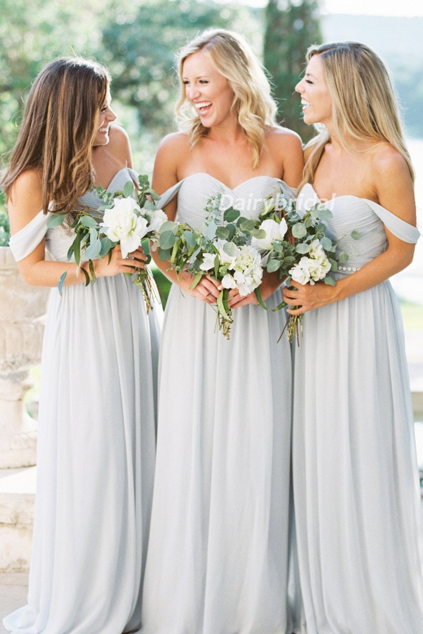 Off shoulder bridesmaid dress chiffon bridesmaid dress sweet heart