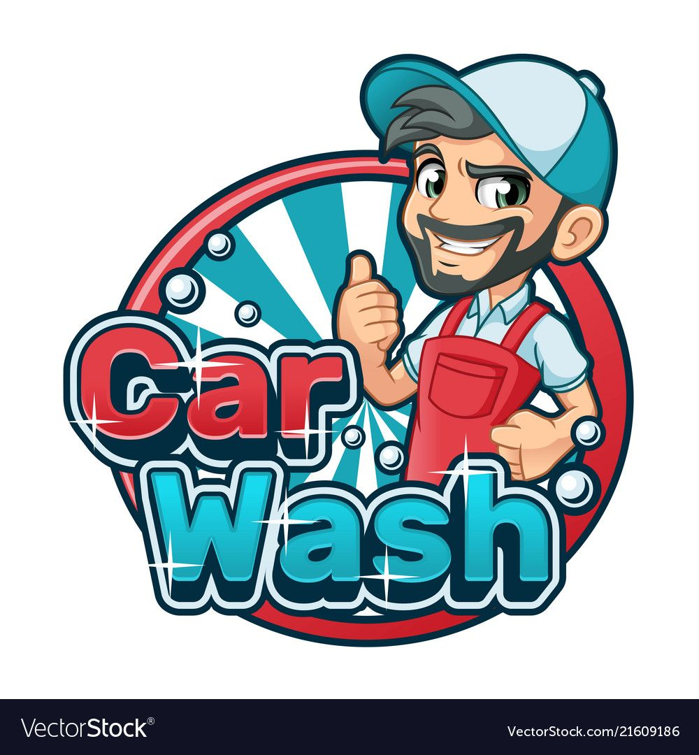 Car wash cartoon logo vector image on Logo character