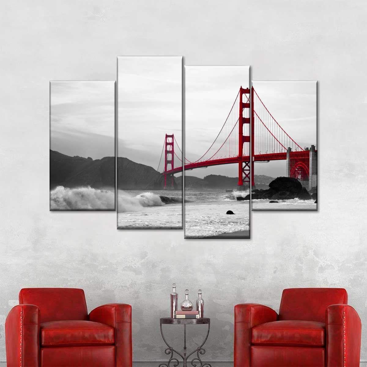 Shore At Golden Gate Bridge Pop Multi Panel Canvas Wall Art In 2020 Multi Panel Canvas Canvas Wall Art Wall Art Canvas Prints