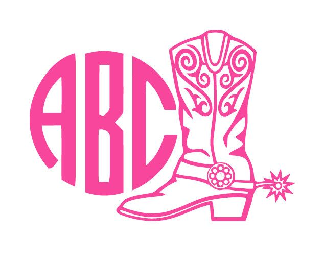 Custom Vinyl Monogram Western Boot Decal Country Girl Custom - Monogrammed custom vinyl decals for car